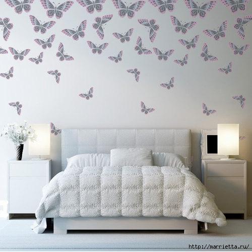 Порхающие бабочки в интерьере. Трафареты для стен и потолка (13) (500x500, 129Kb)
