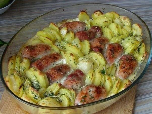 Мясные рулетики с картофелем в сливках