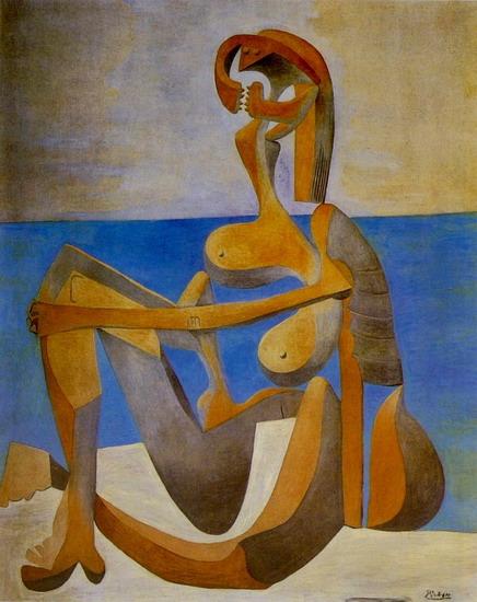Пабло Пикассо. Купальщица, сидящая на берегу моря. 1930 год