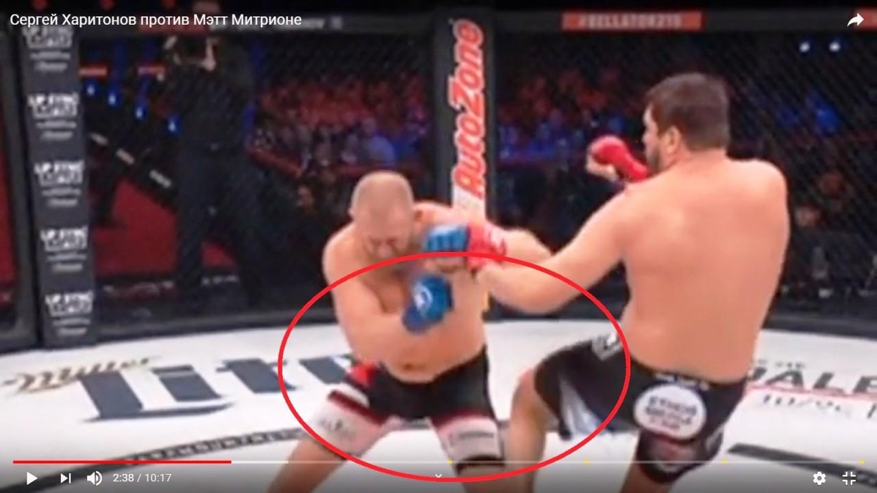 Появилось видео удара в пах в бою Харитонова и Митриона