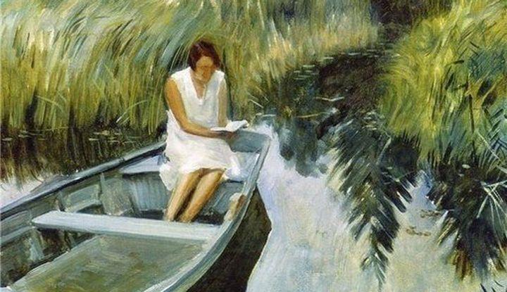 Муж страстно любил рыбалку, а жена предпочитала читать