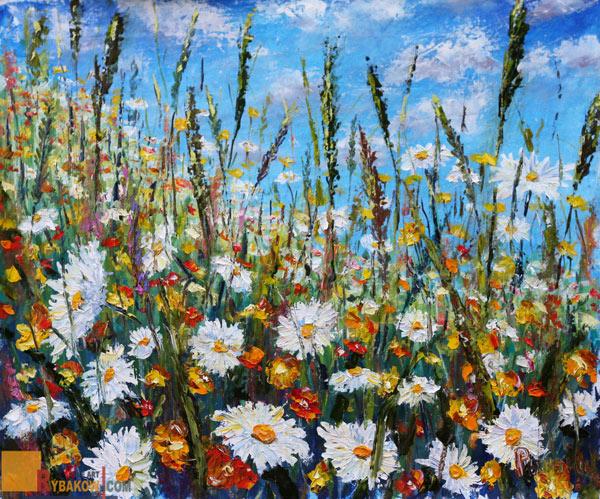 Цветочная картина маслом и мастихином: Поляна летних цветов. Художник Рыбаков.