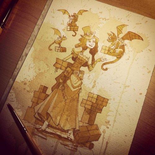 Иллюстрации в стиле стимпанк, нарисованные чаем