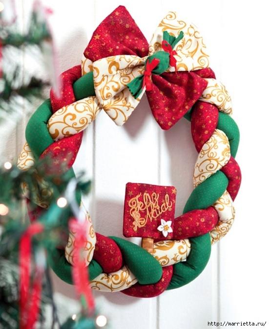 Текстильный рождественский венок. МК