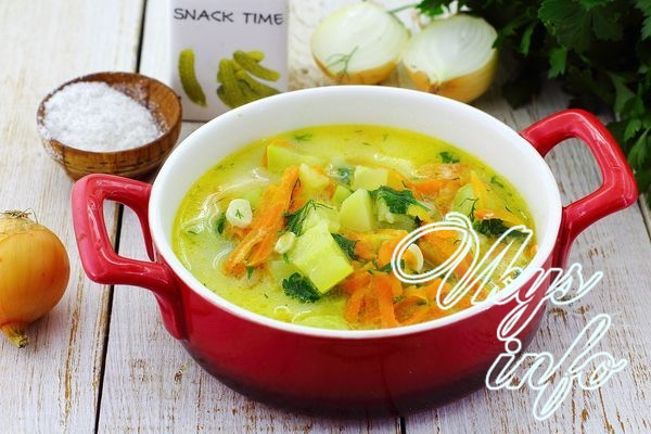 Суп из кабачков с плавленым сыром