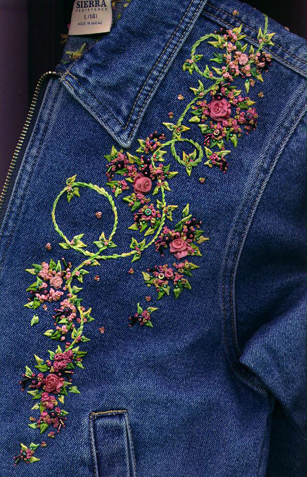 Вышивка лентами на джинсах 27