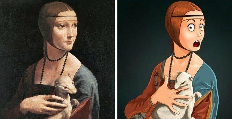 Художница из Перми показала, что могло происходить «за кадром» известных картин Леся Гусева, живопись, за кадром, картина, прикол, художница, юмор