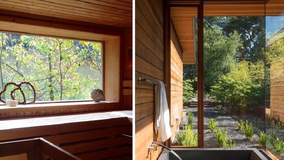 Эстетическое удовольствие: сауна или баня с большим окном