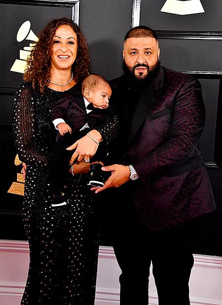 DJ Khaleed с женой и 3-месячным сыном на Grammy