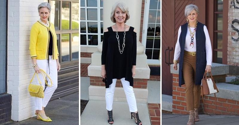 Модные чинос для женщин за 50: 13 простых образов на каждый день