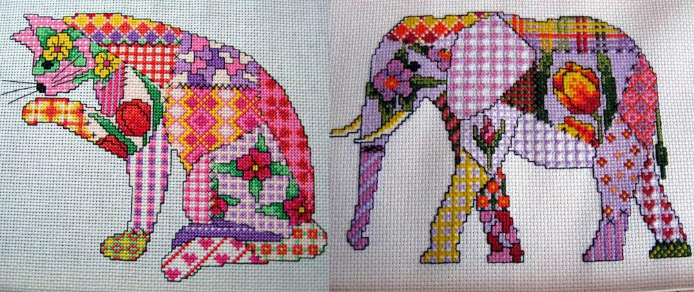 """Имитация пэчворка. Схемы для вышивки крестом в необчном стиле """"Кошка"""" и """"Слон"""""""