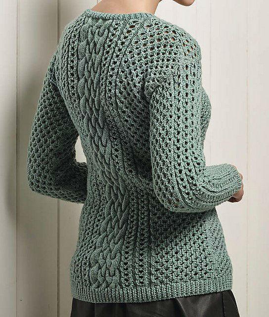 Очень красивый пуловер с миксом узоров