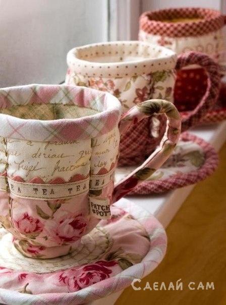 Чашечки и тарелочки из ткани своими руками