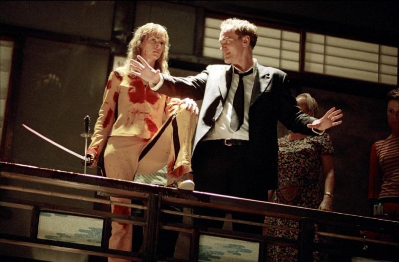 Ума Турман и Квентин Тарантино во время съёмок фильма «Убить Билла». Фото