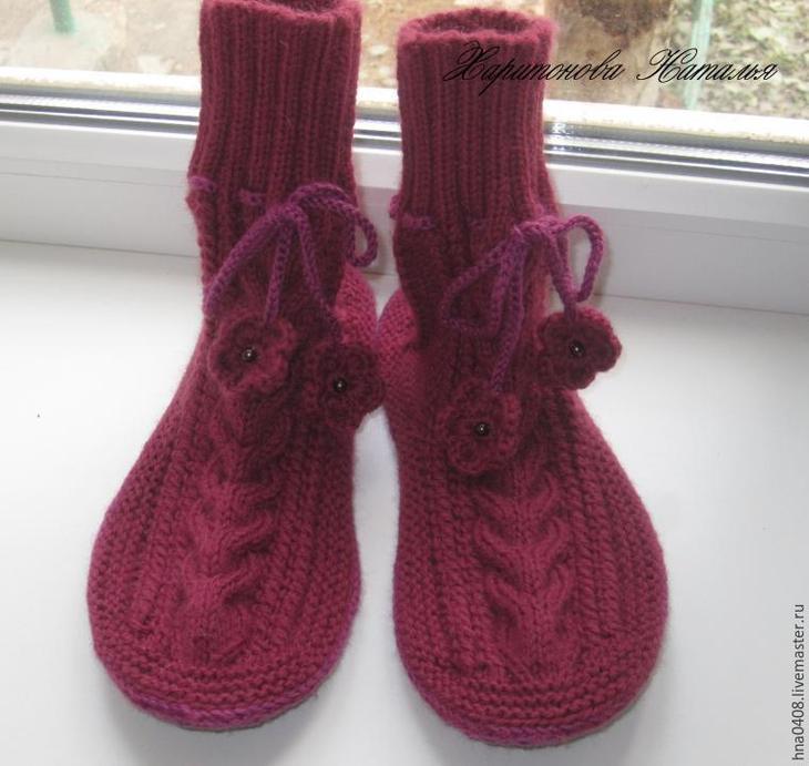 Вяжем уютные носки на войлочной подошве