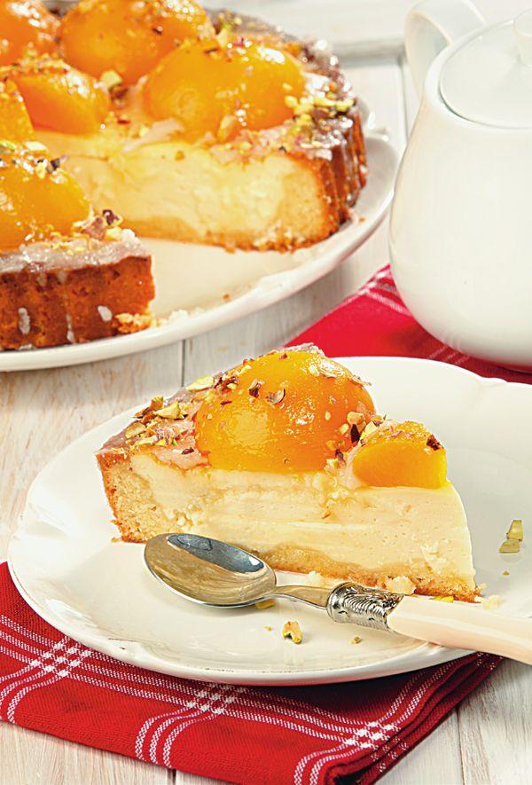 Сырный торт с персиками