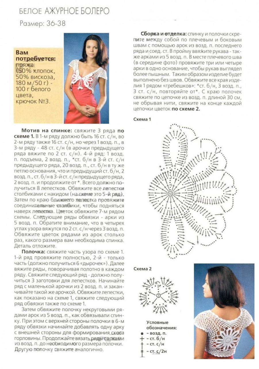 Cхемы и описание вязания болеро крючком для женщины 84