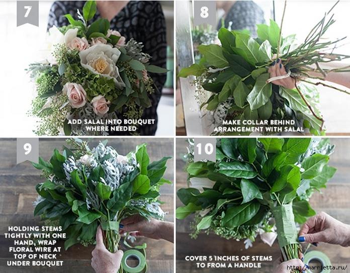 Свадебный букет из свежих листьев и цветов из гофрированной бумаги (3) (696x542, 290Kb)