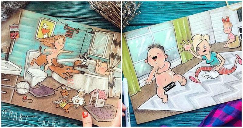 Восхитительно честные рисунки мамы о повседневной жизни с двумя детьми