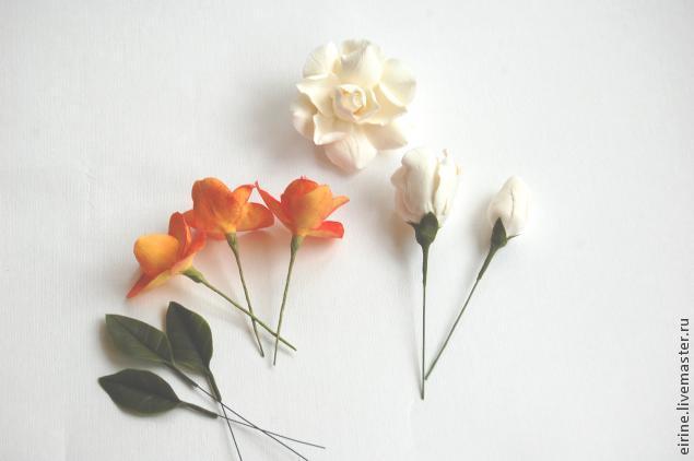 Цветочный зажим для штор из полимерной глины
