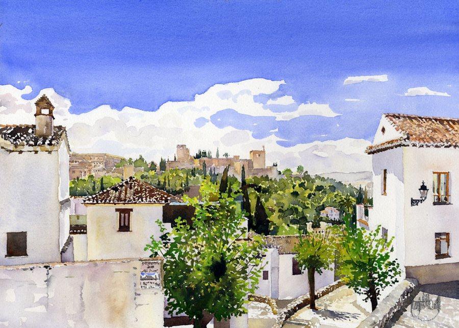 Южный город, марево полудня... Английская художница Margaret Merry