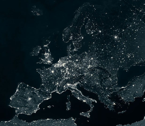 Световое загрязнение Земли, сделанные в ночное время