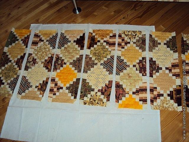 собираем блоки в вертикальные ряды (или горизонтальные) и собираем полотно