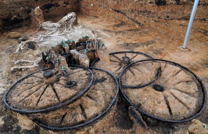 Болгарская археология: колесница с лошадьми.