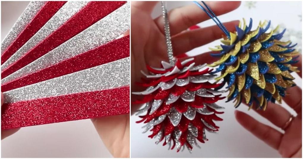 Новогодние шишки из фоамирана — просто, дешево и потрясающе красиво