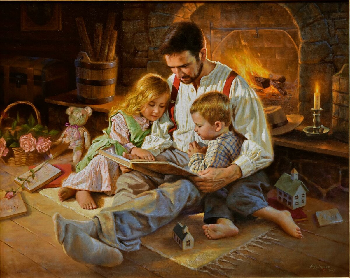 Чтение сказки с папой