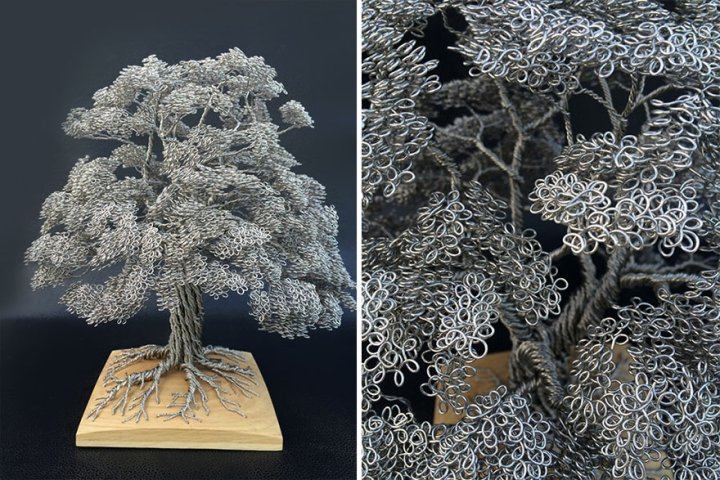 скульптуры деревьев из проволоки клайв мэдиссон