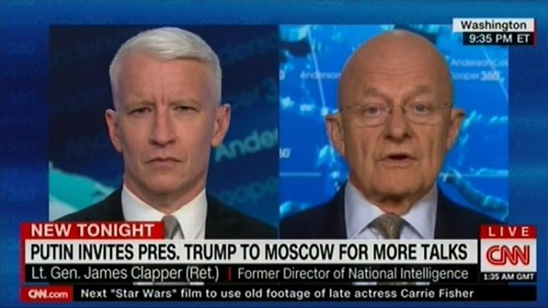 Клэппер: Путин предпочёл бы встретиться с Трампом на «московском поле» — чтобы сыграть на его эго