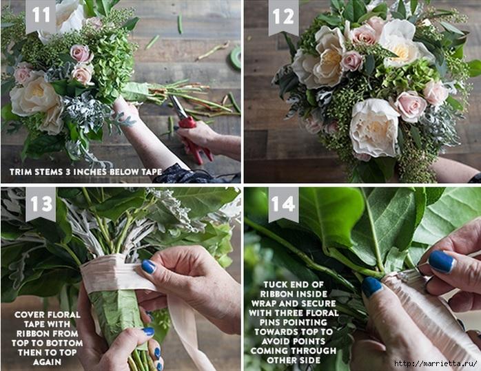 Свадебный букет из свежих листьев и цветов из гофрированной бумаги (4) (698x539, 305Kb)