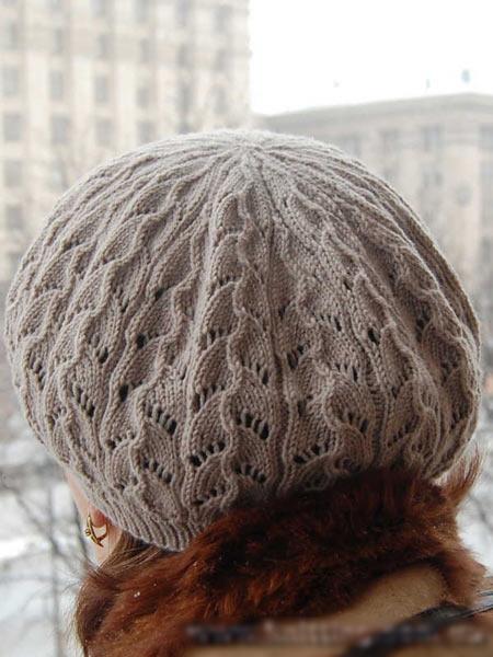 Берет вязанная шапка ажурная 92