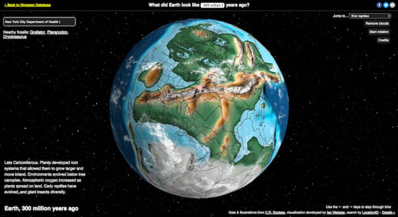 Создана интерактивная карта, которая покажет, где находился ваш город 750 миллионов лет назад