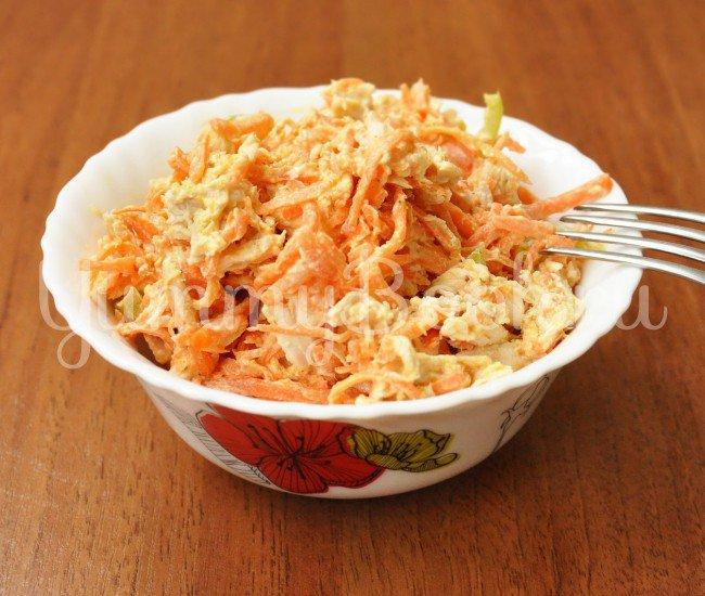 Рецепт дня — Куриный салат с корейской морковью. Очень вкусно!