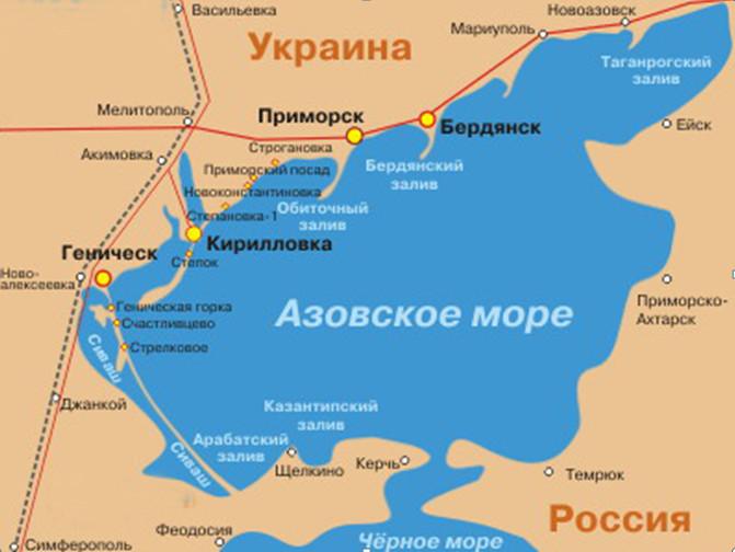 Карта курортов Азовского моря