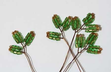 4 веточки ёлки второго ряда из бисера своими руками