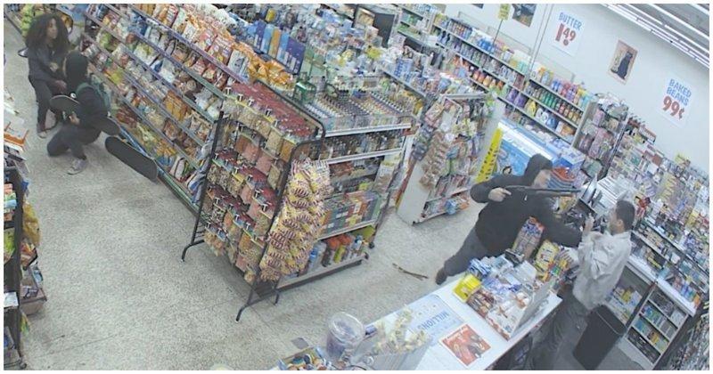 Воришки помешали вооруженному налетчику ограбить магазин видео, вор, воровство, грабитель, ограбление, преступление, сша, юмор