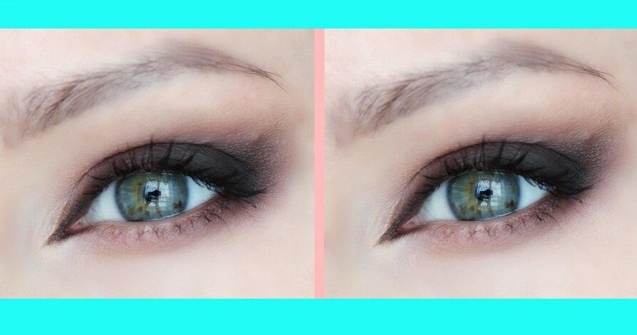 Не занижайте внешний уголок глаза. Посмотрите на фото, слева уголок занижен, из-за чего исказилась пропорция глаз, а справа - нет