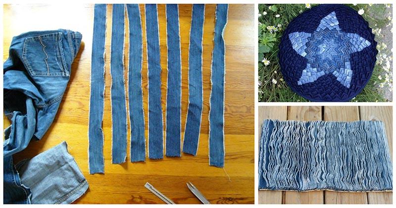 Разрезав старые джинсы на фрагменты, вы можете сделать очаровательную вещь для дома