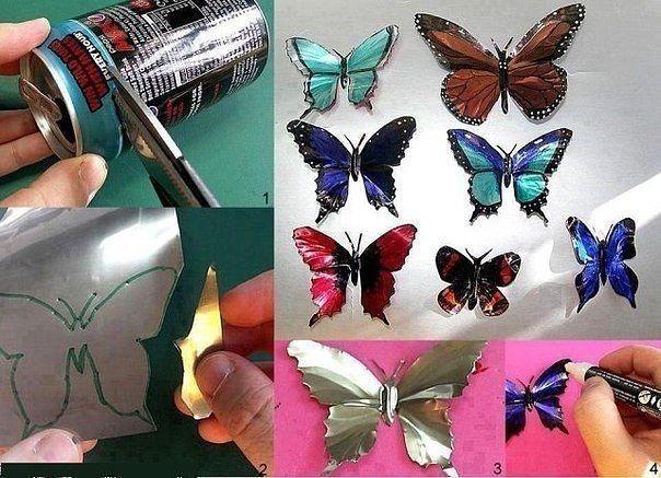 Бабочки-магнитики из жестяной банки