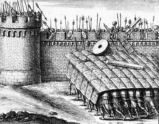 В. Холлар. Использование черепахи при осаде крепости