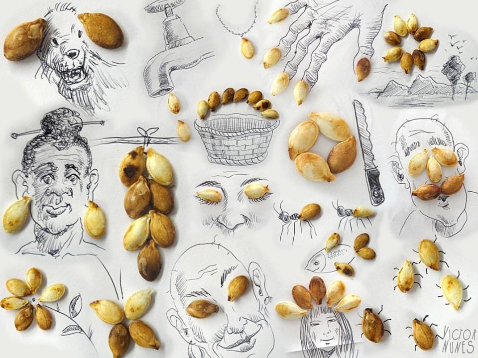 Виктор Нунес - Рисунки из семячек