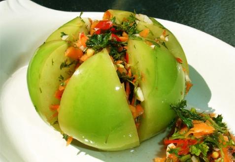 Заготовки салат с зелеными помидорами на зиму