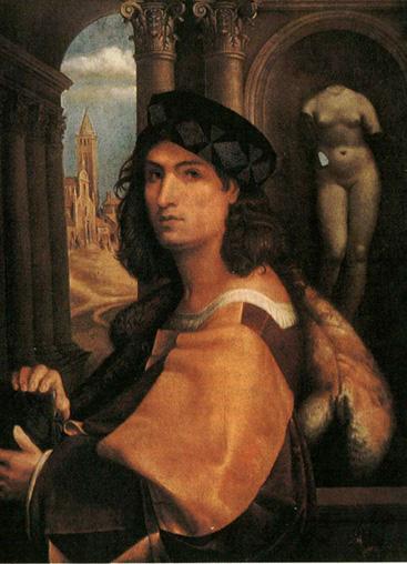 Доменико Каприола. Автопортрет. 1512 г. Костюм Италия эпоха Высокого Возрожденя Очень открытая линия декольте, видна рубашка. Широкие рукава. Круглый берет