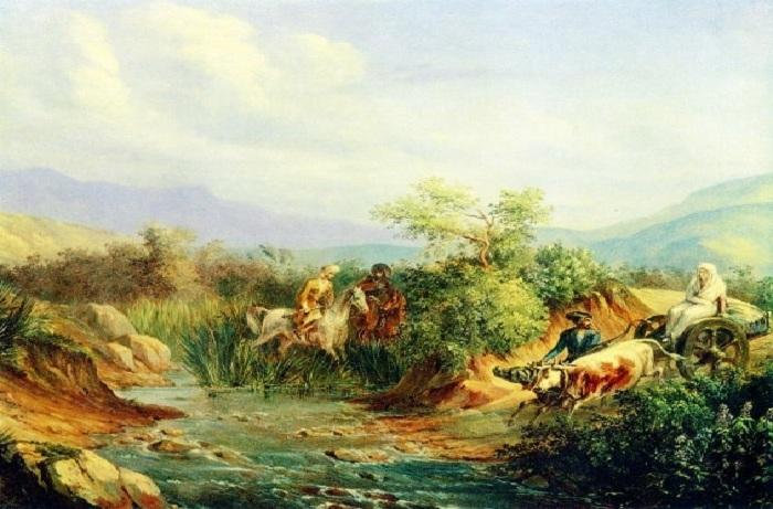 Нападение. Сцена из кавказской жизни. Масло.(1837год). М.Ю. Лермонтов.