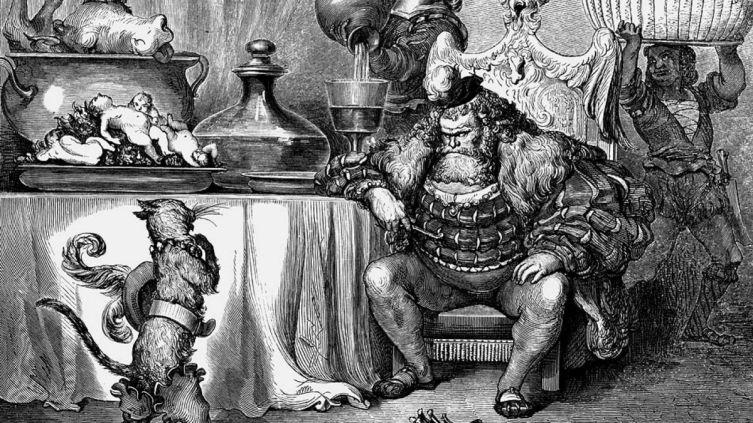 Поль Гюстав Доре, «Людоед принял его так учтиво, как только может принять людоед», иллюстрация к сказке Шарля Перро «Кот в сапогах»
