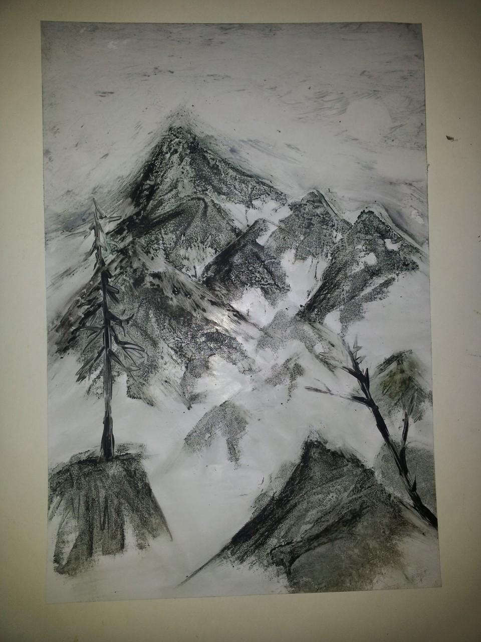 Зима рисунки воском 3