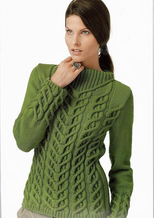 Женский пуловер с косами. Схема и описание (1) (494x700, 236Kb)